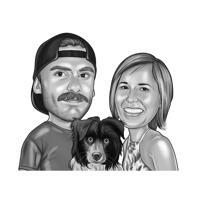 Couple avec portrait de dessin animé de chiot Colley dans un style noir et blanc
