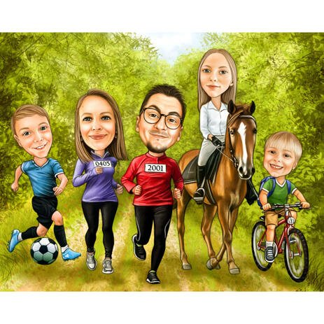 Family Group Caricature - Digitally Hand Drawn in Color Style and Personalised from Photos - example