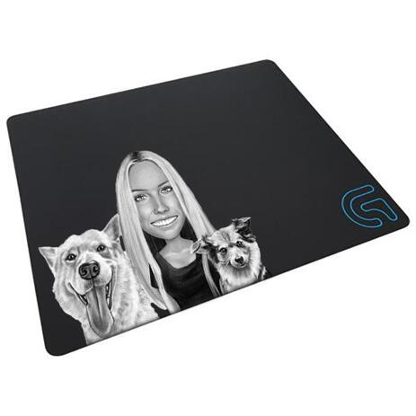 Dog Caricature from Photos Printed as Mouse Pad - example