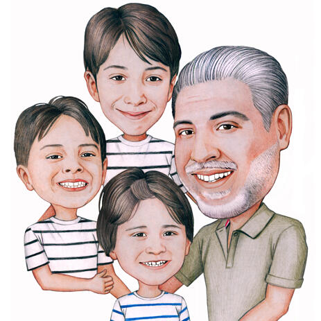 Father with Kids Caricature from Photos - example