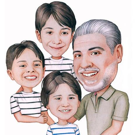父亲与孩子漫画从照片 - example