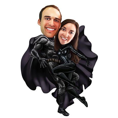 Superhero Customized Bat and Cat Attire Couple Cartoon Caricature from Photos - example
