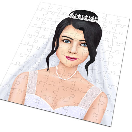 Bride Caricature as Wedding Gift on Puzzle - example