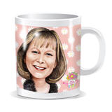 Personalized Mug: Custom Portrait Drawing of Woman in Colored Pencils Style
