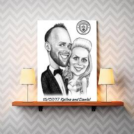 Bride and Groom Caricature on Canvas