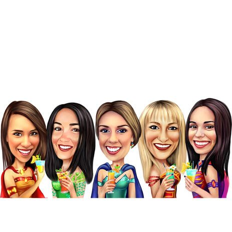 Superheroes Girls Group Caricature in Color Style for Custom Friends Gift - example
