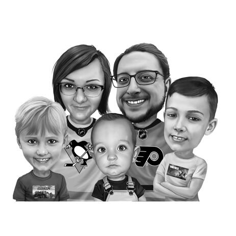 Family Caricature Wearing Favorite Teams Shirts - example