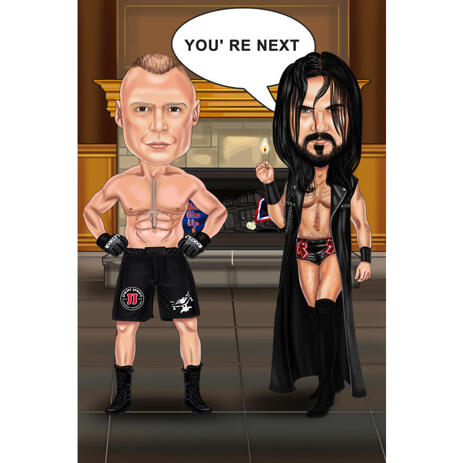 Funny Boxing Match Fighters Cartoon Caricature with Custom Background - example