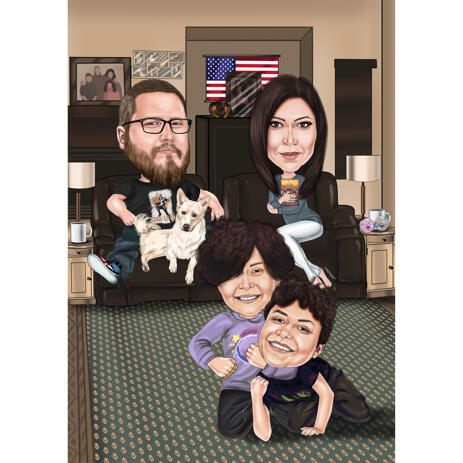 Cozy Family Caricature with Pet - Lounging Home - example