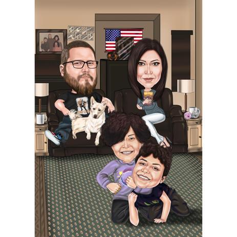 Gezellige familiekarikatuur met huisdier - Lounging Home - example