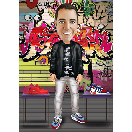 Caricature of Person in Full Body Colored Style with Custom Graffiti Background - example