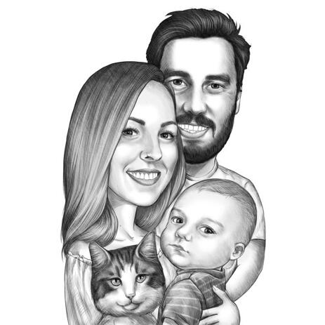Couple with Baby and Pet Caricature Portrait Hand Drawn from Photo in Black and White Style - example