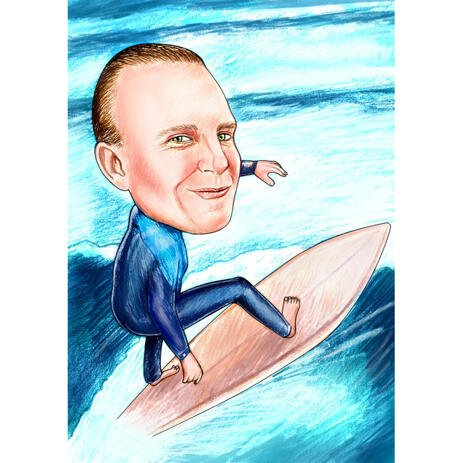 Surfing Caricature from Photos for Surf Lovers - example