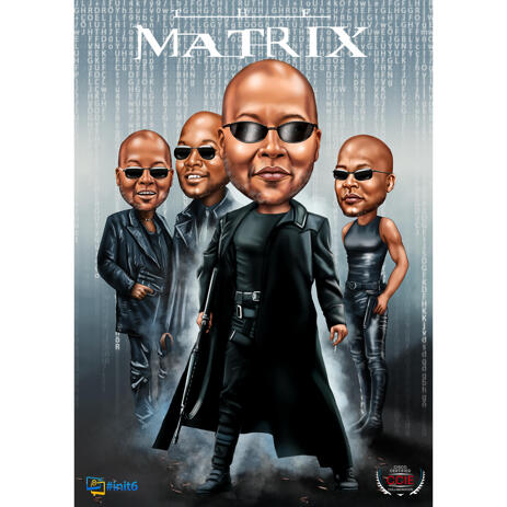 Colored Full Body Caricature from Photos with Custom Background for Matrix Fans - example