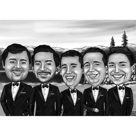 Black and White Groomsmen Cartoon with Background - example