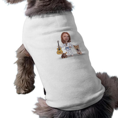 Master and Dog Caricature as Pet Shirt - example