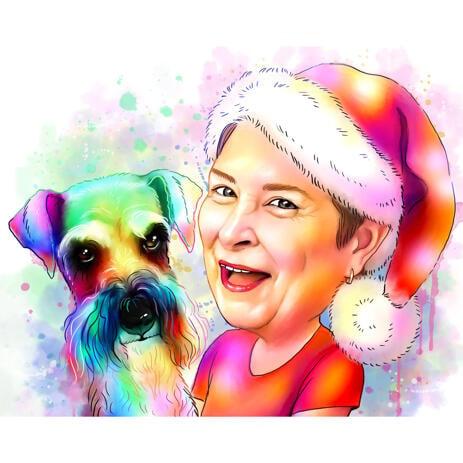 Julekarikatur af ejer med kæledyr i akvarelstil - example