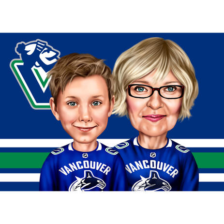 Hockey Caricature: Grandmother and Grandson - example