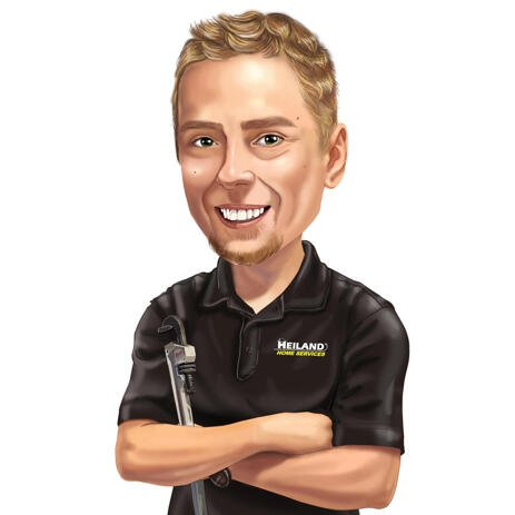 Mechanic Caricature Portrait from Photos - example