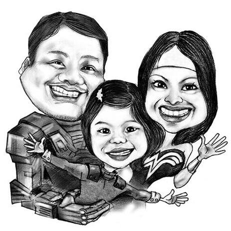 Custom Superheroes Group Caricature from Photos - example