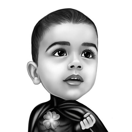 Baby Superhero Caricature Portrait from Photo in Black and White Drawing Style - example