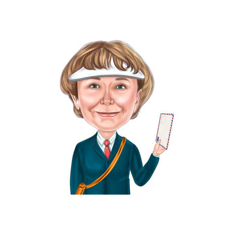 Postman Caricature in Color Style from Photos for Custom Letter-Carrier Person Gift - example