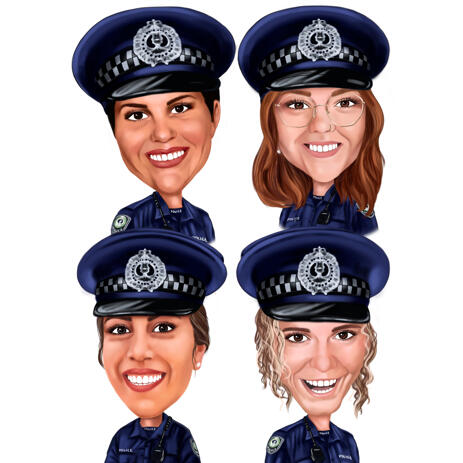Police Officers Group - Custom Caricature Portrait Gift from Photos in Color Style - example