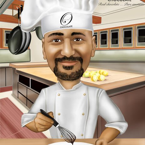 Chef Caricature Drawing in Colored Digital Style - example