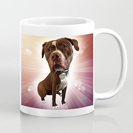 Customized Mug Gift - Hand Drawn Dog Caricature from Photos with Colored Background - example