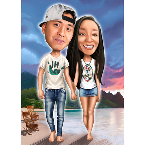 Full Body Vacation Couple Caricature with Beach Background - example