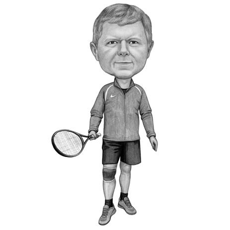 Tennis Player Caricature in Black and White Style Hand Drawn from Photo - example