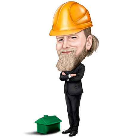 Construction Architect with Safety Helmet Caricature in Full Body Color Style - example