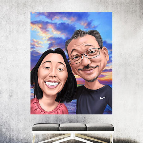 Couple Caricature Cartoon Hand Drawn from Photos - Printed Canvas Gift - example