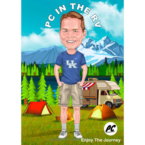 Full Body Person Camping Caricature from Photos for Journey and Day Trip Lovers Gift - example