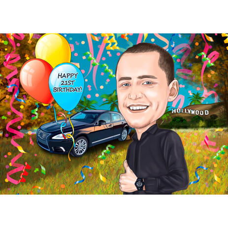 Birthday Caricature for Man in Colored Style with Custom Background - example