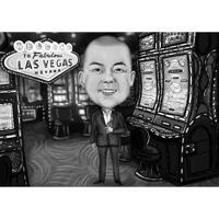 Persoonskarikatuur in casino van foto: zwart-witstijl