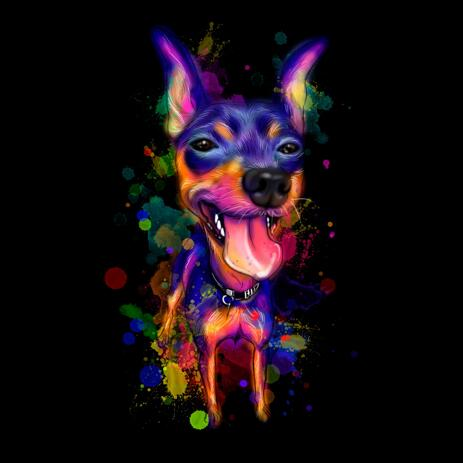 Dog Rainbow Full Body Painting with Black Background - example