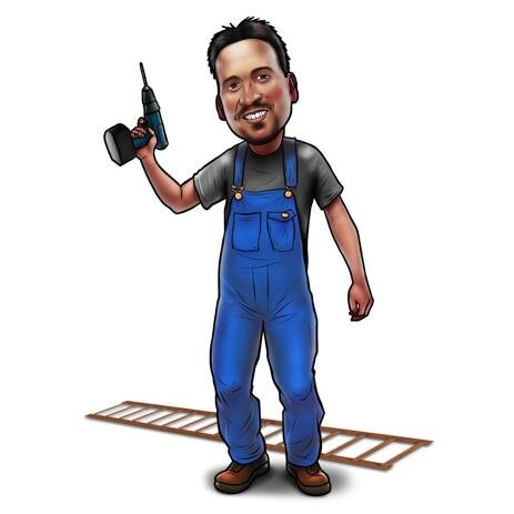 Workman Caricature from Photos in Colored Style with Tools - example