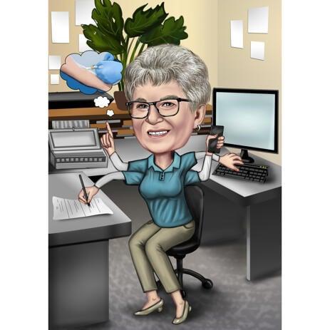 Карикатура женщины в офисе нарисованная в цветном стиле с фотографии для подарка - example