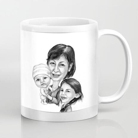 Caricatura del fumetto della madre con i bambini stampata sulla tazza - example
