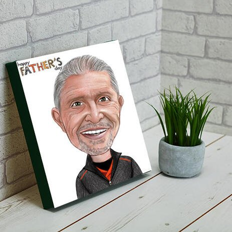 Funny Gift for Dad Caricature in Colored Pencil Head and Shoulders Style on Canvas - example