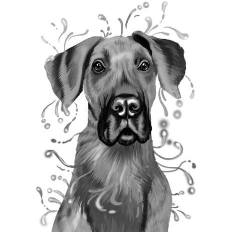 Head and Shoulders Great Dane Portrait in Grayscale Watercolor Style - example