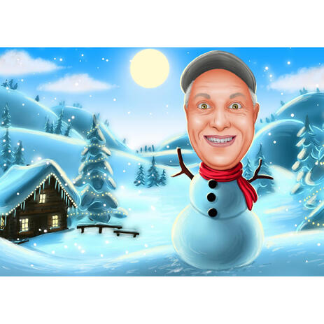 Funny Snowman Caricature from Photos with Colored Background - example