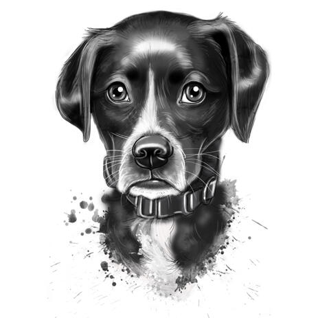 Grayscale Watercolor Style Portrait of Your Pet - example