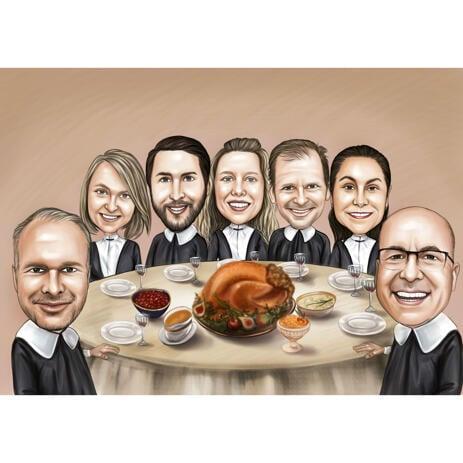 Сидя за столом - групповая карикатура в цветном стиле - example