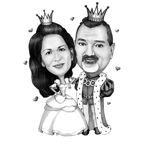 Romantic King and Queen Couple Caricature from Photos in Black and White Style - example
