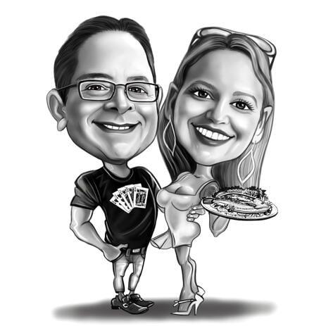 Черно-белая карикатура пары в полный рост нарисованная с фотографии. - example