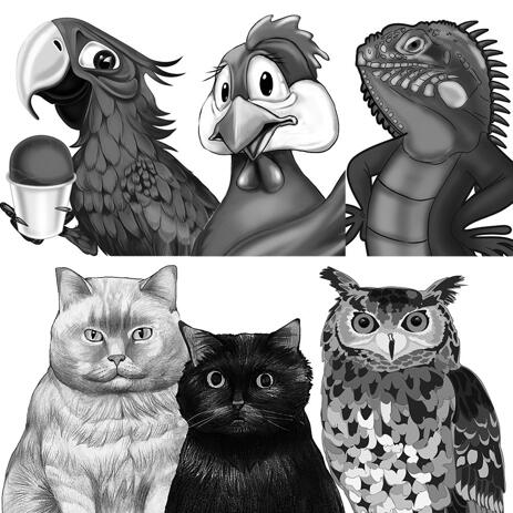 Any Exotic Animal Caricature Portrait from Photos: Black and White Style - example