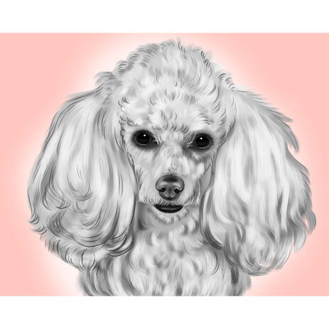 Realistic Poodle Sketch Drawing in Black and White Style with Background - example