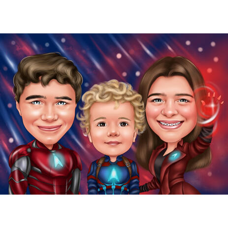 Three Kids Superhero Caricature Cartoon from Photos with Colored Background - example